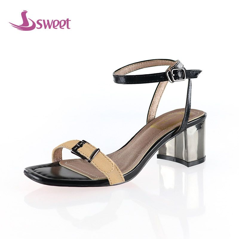 Brand womens shoes woman sandals Ankle-Wrap Microfiber Buckle Striped Front & Rear <font><b>Strap</b></font> Spike Heels Totem Novelty PartyB72