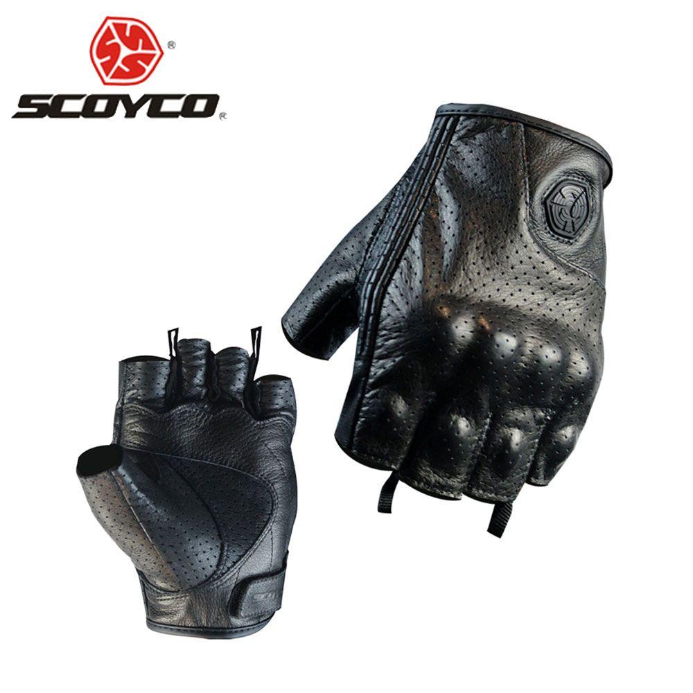 SCOYCO Motorrad Handschuhe Moto Handschuhe Motocross Racing Handschuhe Leder Motorrad Reiten Halbfinger Handschuhe Luva Couro Motoqueiro