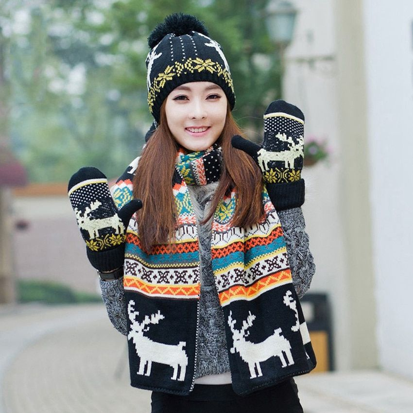 Wool Snow Cap Knitted Scarves Hat Glove Set Women Winter Warm Plush Pompoms Beanies Gold Bonnet X-mas Deer Scarf Gloves