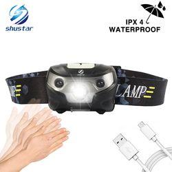 3000LM Mini Rechargeable LED Phare 3000Lm Body Motion Sensor Phare Camping Lampe De Poche Tête Lumière Torche Lampe Avec USB
