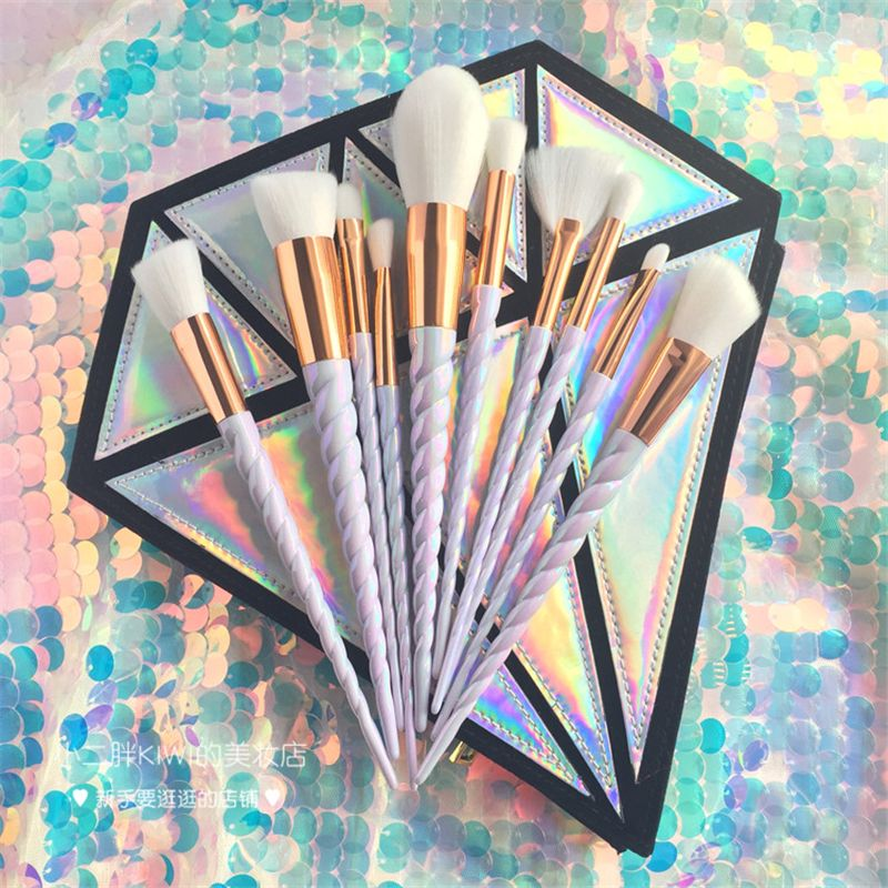 10PCS Professional Makeup Brush Set Unicorn Rainbow Diamond Bag Face & Eye Powder Foundation Eyebrow Make Up Brush Kit Tools
