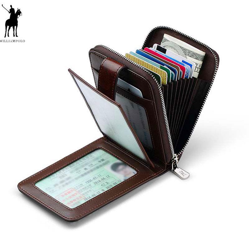 Williampolo Luxus Marke Echt Leder Geldbörse Männer Casual Kreditkarte Halter Mini Zipper Haspe Design Kleine Brieftasche Braun Rot Vintage