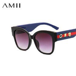 AMII 2018 Marque De Luxe lunettes de Soleil Femmes Charme Tricolore Couleur bar Lunettes Élégant Lunettes de Soleil Léopard Tête Rivets Conception Lunettes
