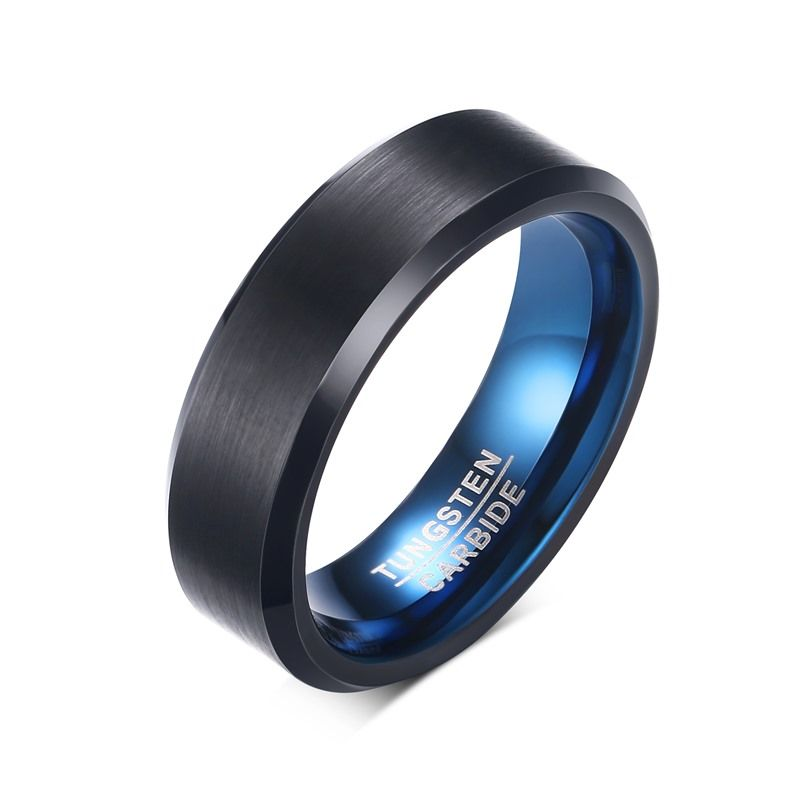 SECSEAL 6MM blue brushed black tungsten ring for men jewelry high quality wholesale
