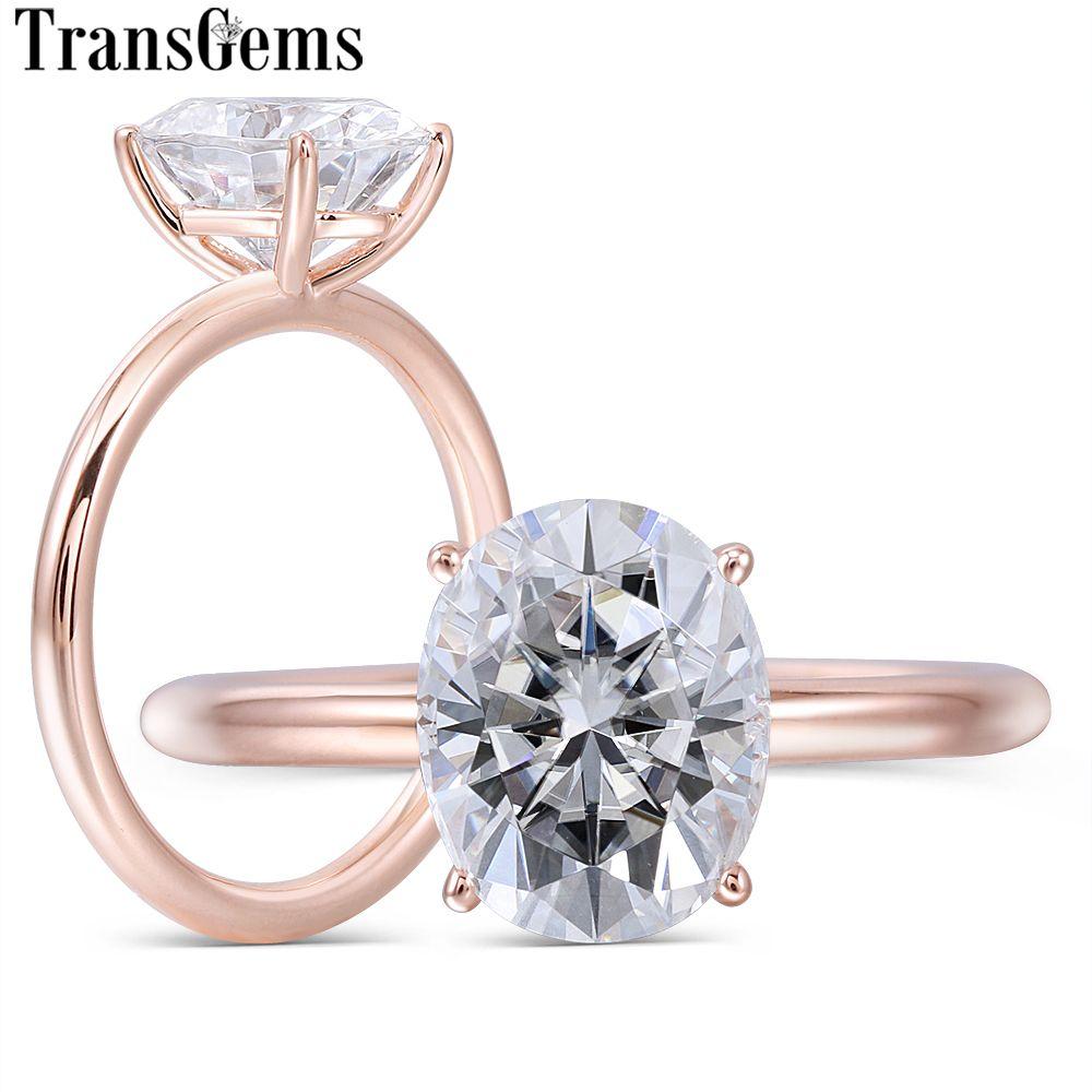 Transgems Solide 14 K Rose Gold 3ct 8X10mm FG Farbe Oval Cut Moissanite Engagement Ring für Frauen hochzeit Schmuck