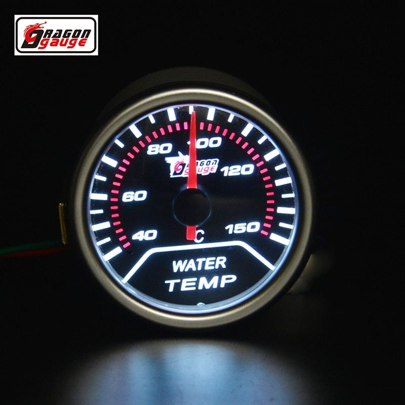 52mm puntero coche motocicleta Racing refit agua medidor de temperatura retroiluminación blanca 40-150 envío libre