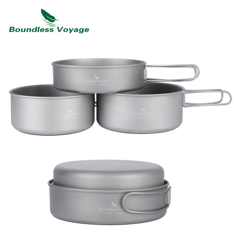 Boundless Voyage Outdoor Ultralight Titanium Pot Pan Set  Titanium Cooking Pots Camping Cookware Ti1575B