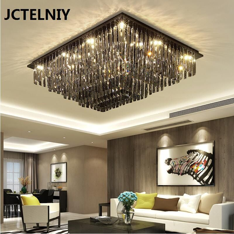 Crystal lamp living room rectangular simple modern led ceiling lamp living room atmosphere creative household lamps