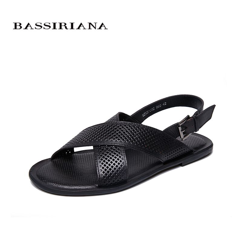 BASSIRIANA 2018 Summer New Beach Sandals Sole shoes men genuine Leather Cowhide Black Brown 39-45 sizes