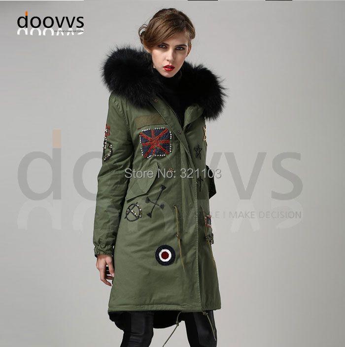Black removed long style real fur collar parka, Beading long parka coat manufacturer wholesale price