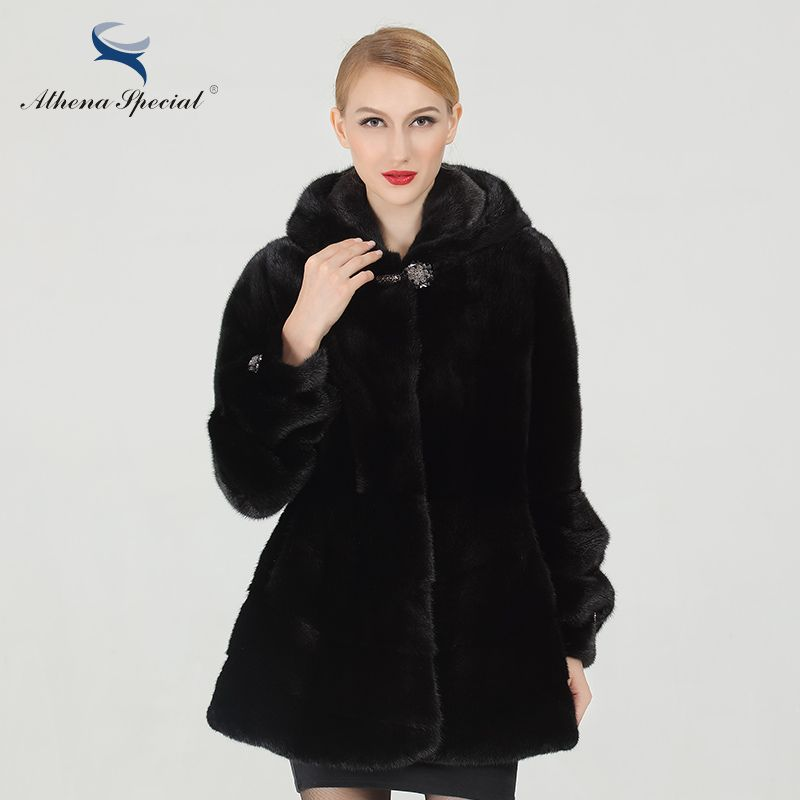 Athena Special Black Short Length Women Mink Coats From Real Natural Fur Luxury Genuine Mink Fur Coat For Ladies Free Shipping