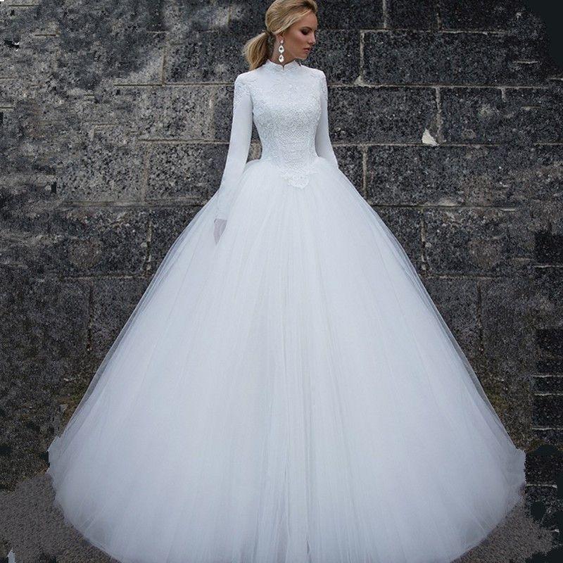 Vivian der Braut 2018 Muslim Langarm High Neck Brautkleid Größe Farbe Angepasst Bodenlangen Einfache Frauen Braut Kleid