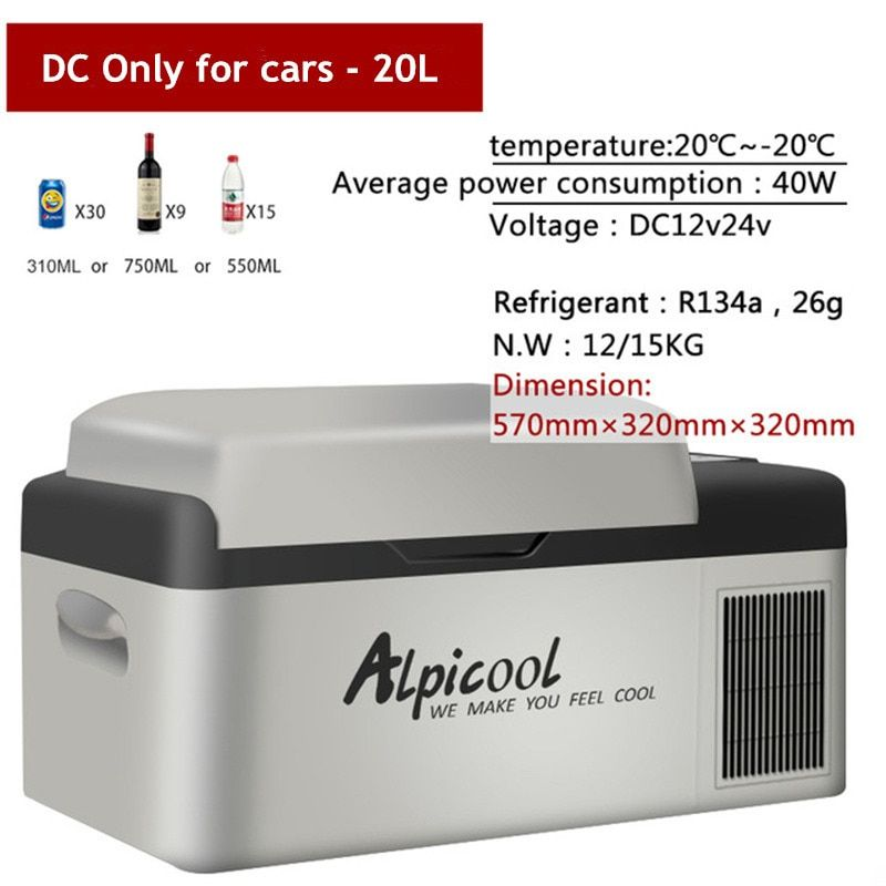 -20 Degrees Freeze Fridge 20L Multi-Function 12V/24V Portable Compressor Car Refrigerator High Quality Auto Cooler Freezer