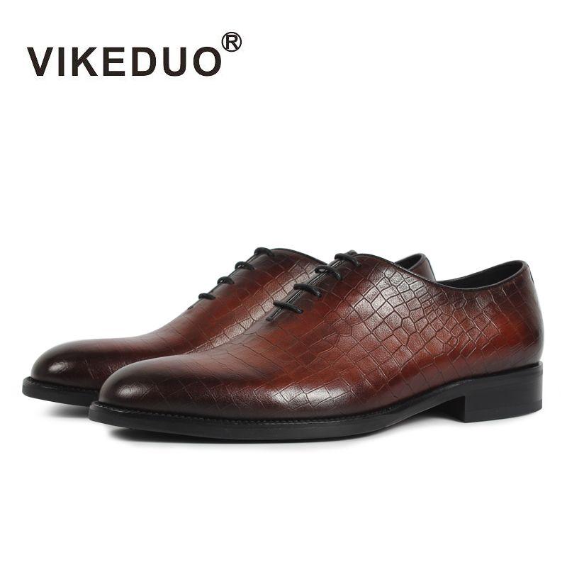 VIKEDUO 2019 Vintage Formale Kleid Schuhe Männer Plaid Hochzeit Büro Schuh Männlichen Echtem Leder Schuhe Oxford Patina Zapatos Hombre