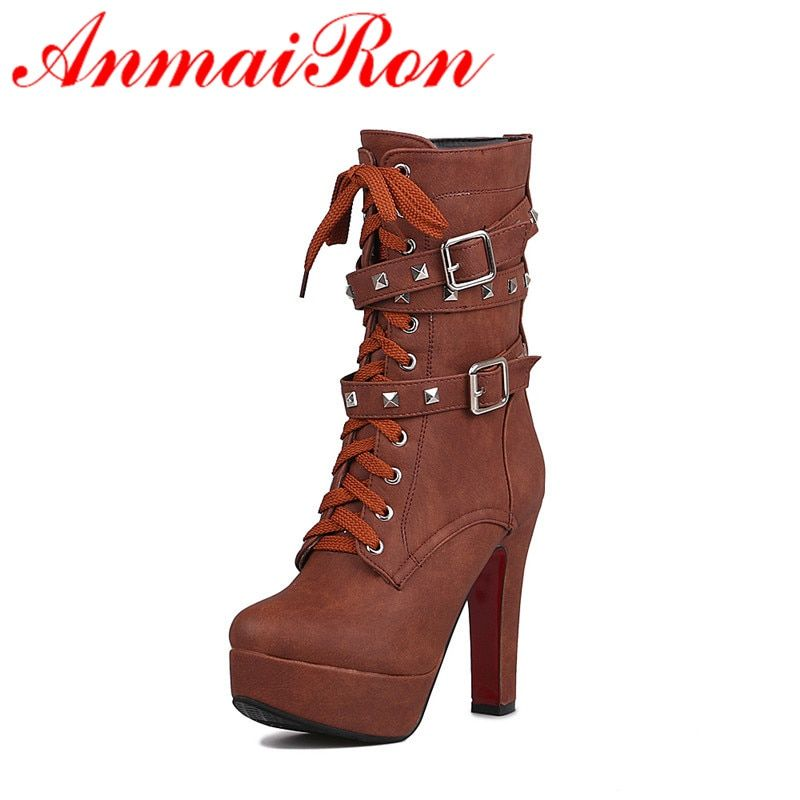 ANMAIRONWomen Mid-calf Boots for Women Winter Warm Boots Rivets Lace-Up Zip Buckle Slip-On Large Size Platform Boots Shoes Woman