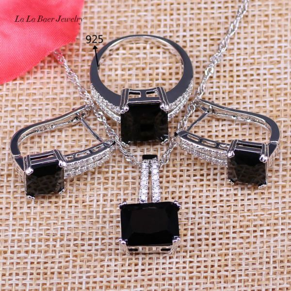 L&B 925 Logo Silver Color Square Black Crystal White Zircon Jewelry Sets Hoop Earrings Pendant Necklace Ring For Women&Lady