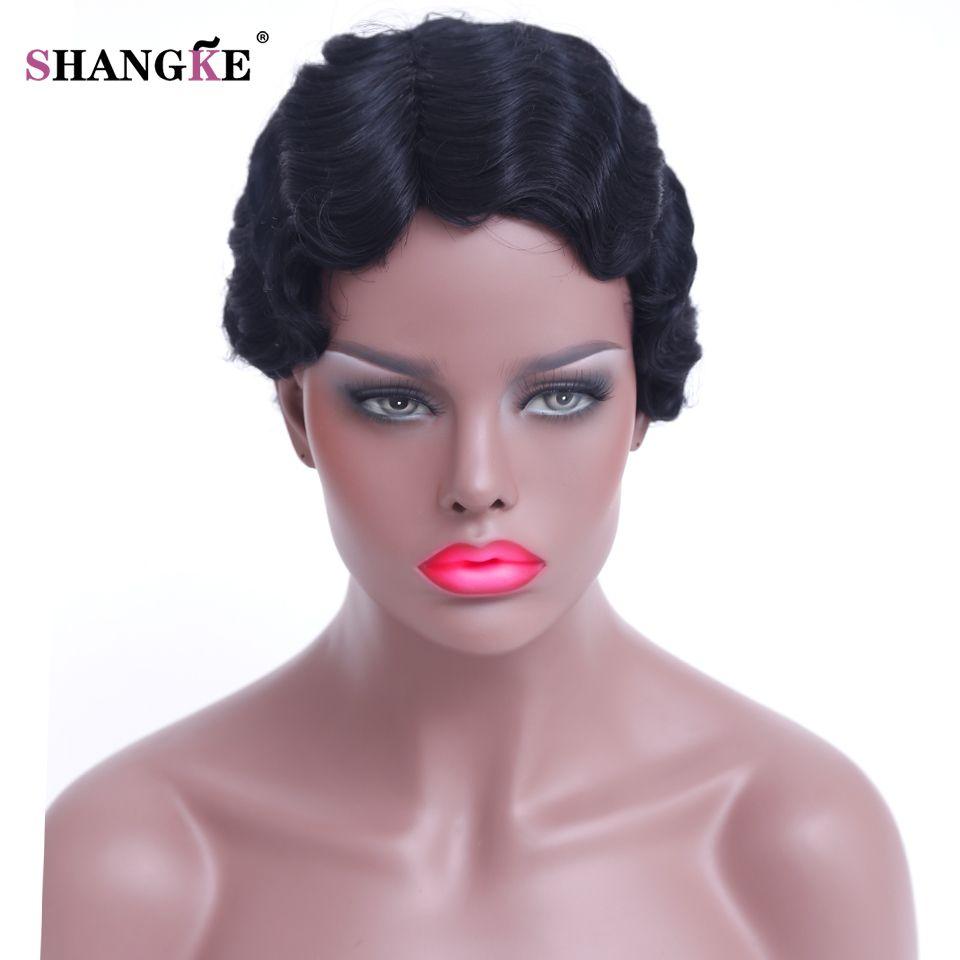 Shangke волосы короткие вьющиеся Искусственные парики для черный Для женщин короткие черные афроамериканец Искусственные парики Для женщин ж...