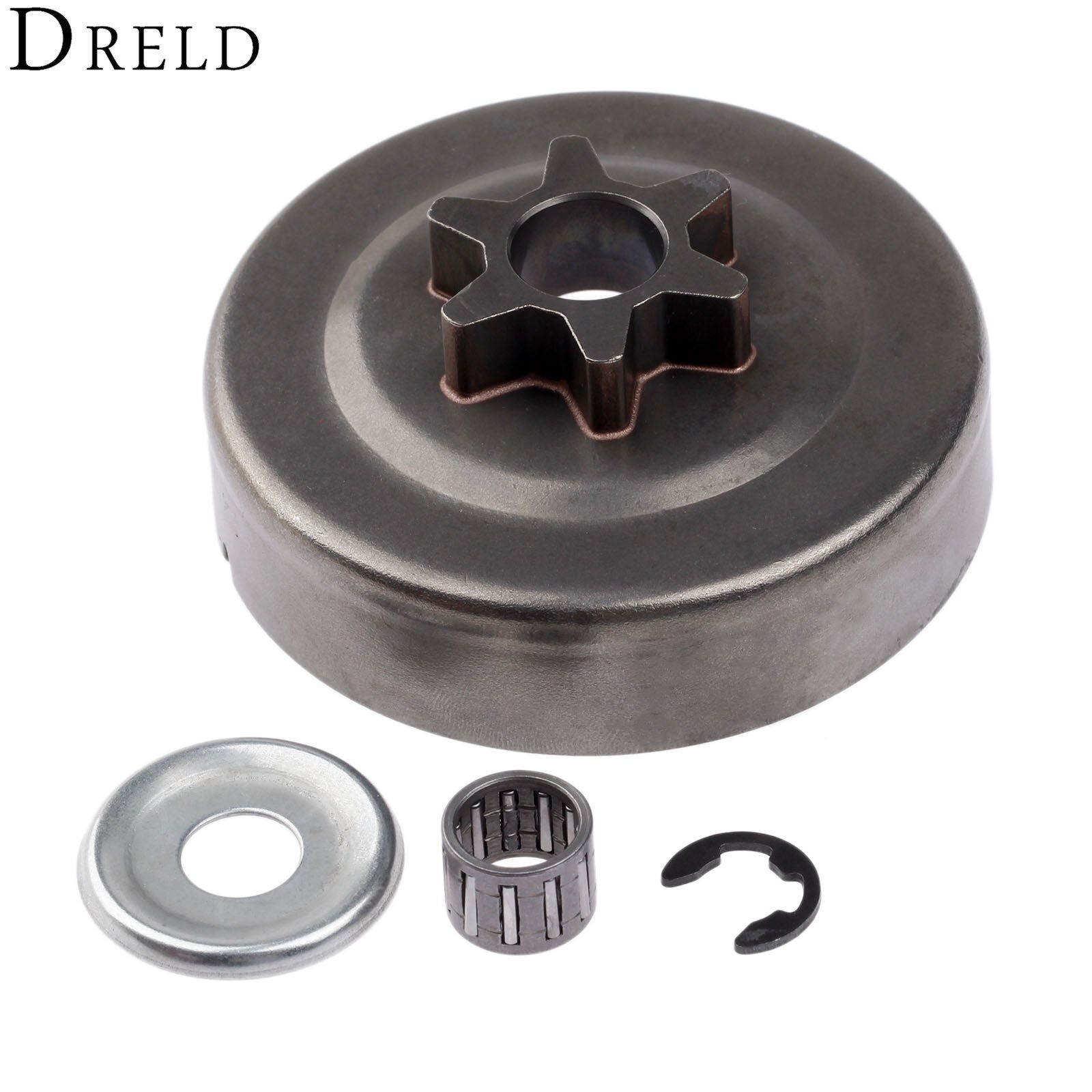 DRELD 3/8 6T Clutch Drum Sprocket Washer E-Clip Kit For STIHL Chainsaw 017 018 021 023 025 MS170 MS180 MS210 MS230 MS250 1123