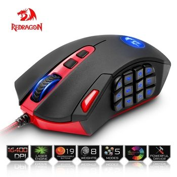 Redragon Souris De Jeu PC 16400 DPI vitesse Laser moteur 18 boutons programmables haute-vitesse USB Filaire pour ordinateur de Bureau souris