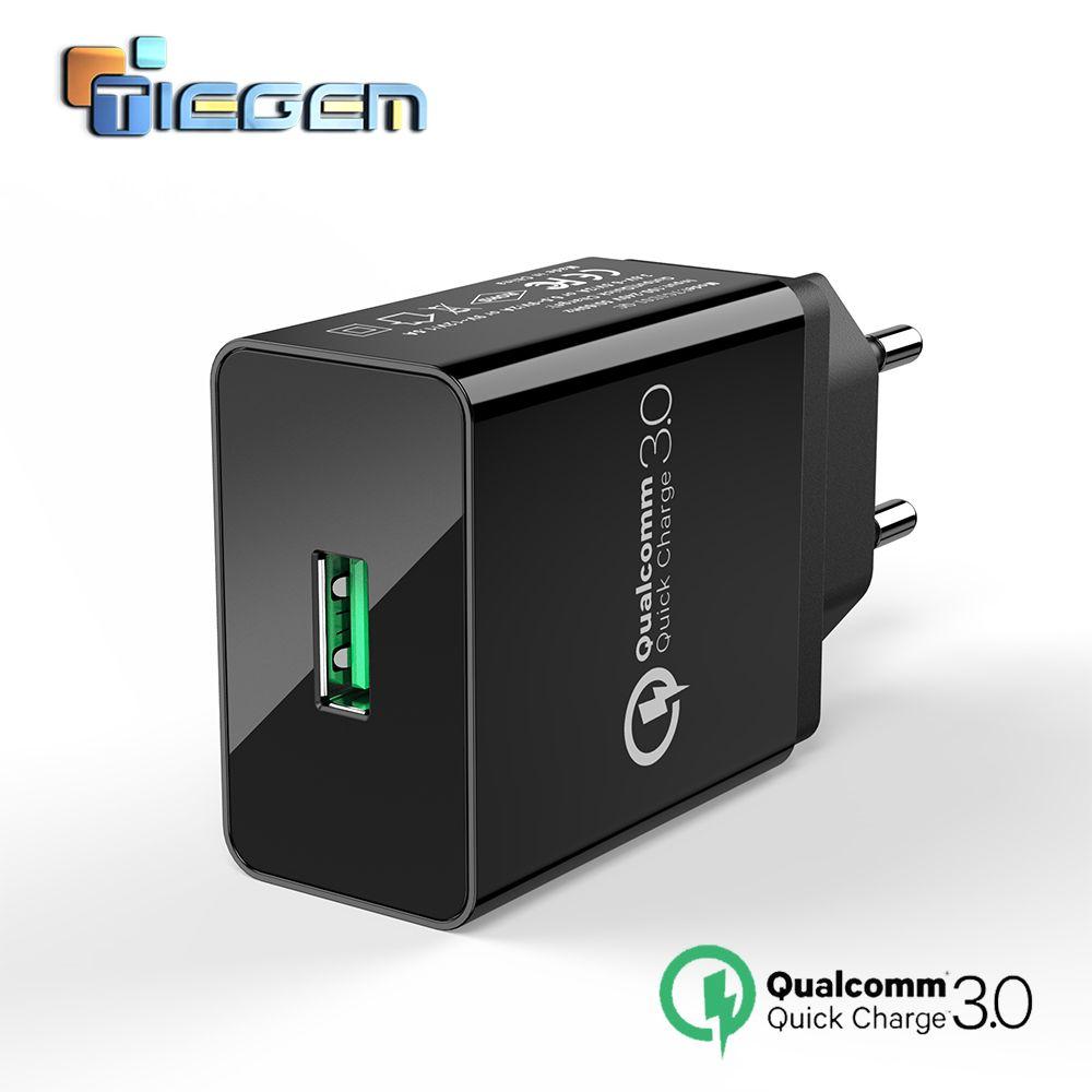 TIEGEM Charge rapide 3.0 USB chargeur mural adaptateur 18W EU US prise universelle voyage chargeurs de téléphone portable pour Samsung pour iphone 7