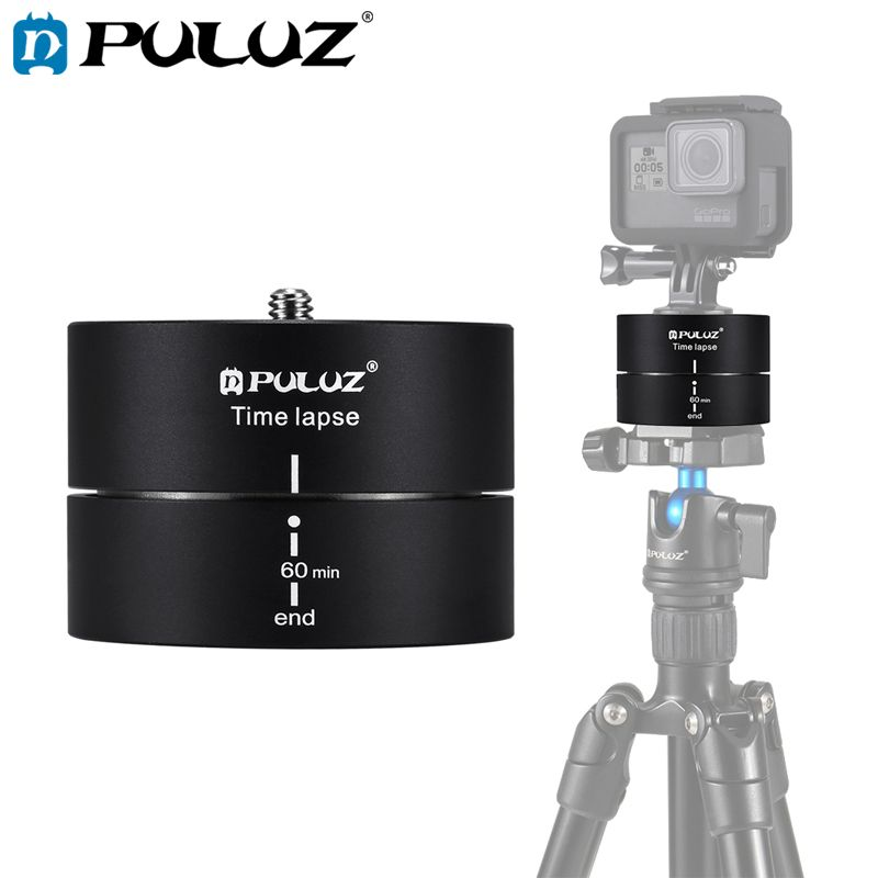 PULUZ Camra Time lapse 360 Panoramic Panning Rotation 60/120 Minutes Gopro Stabilizer Tripod Head Adapter Timelapse