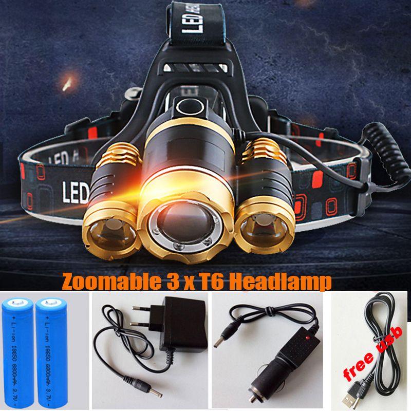 13000LM LED 3xT6 Phare Phare Tête Lampe d'éclairage Lumière lampe de Poche Torche Lanterne De Pêche + 18650 Batterie + Voiture USB AC chargeur