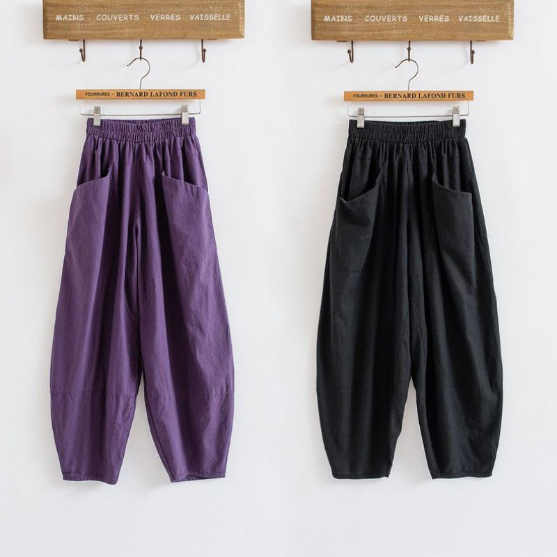 Cotton Linen Ankle-Length Pants Summer Casual Loose Trousers Women Bloomers Harem Pants