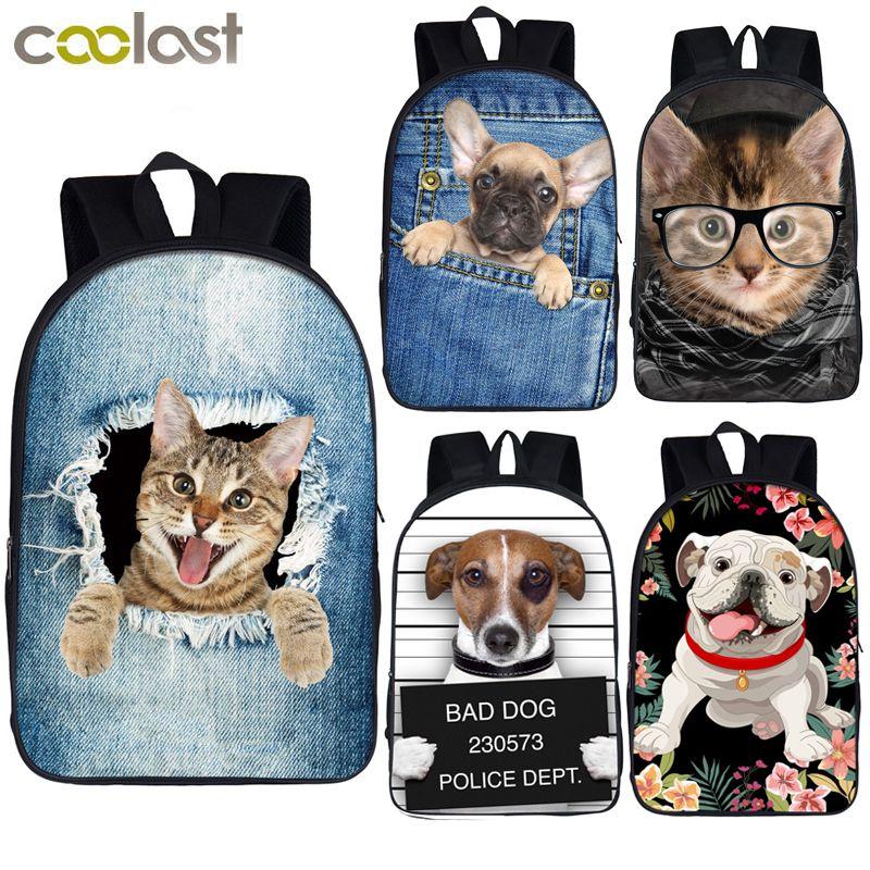 Mignon chiot chien/chaton chat sac à dos femmes hommes casual sac à dos étudiant sacs d'école pour adolescent filles garçons sac à dos enfants