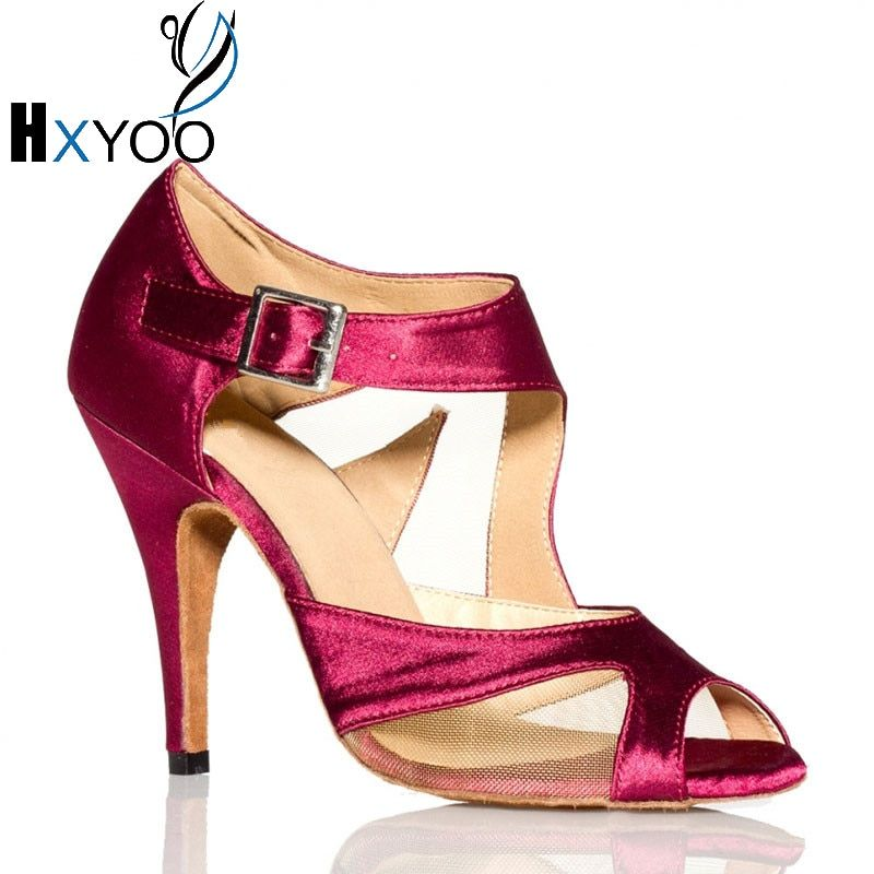 HXYOO Women Customizable Latin Salsa Dance Shoes Professional Girl Ballroom Mesh Satin Shoes Soft Sole Fuchsia Black GM001