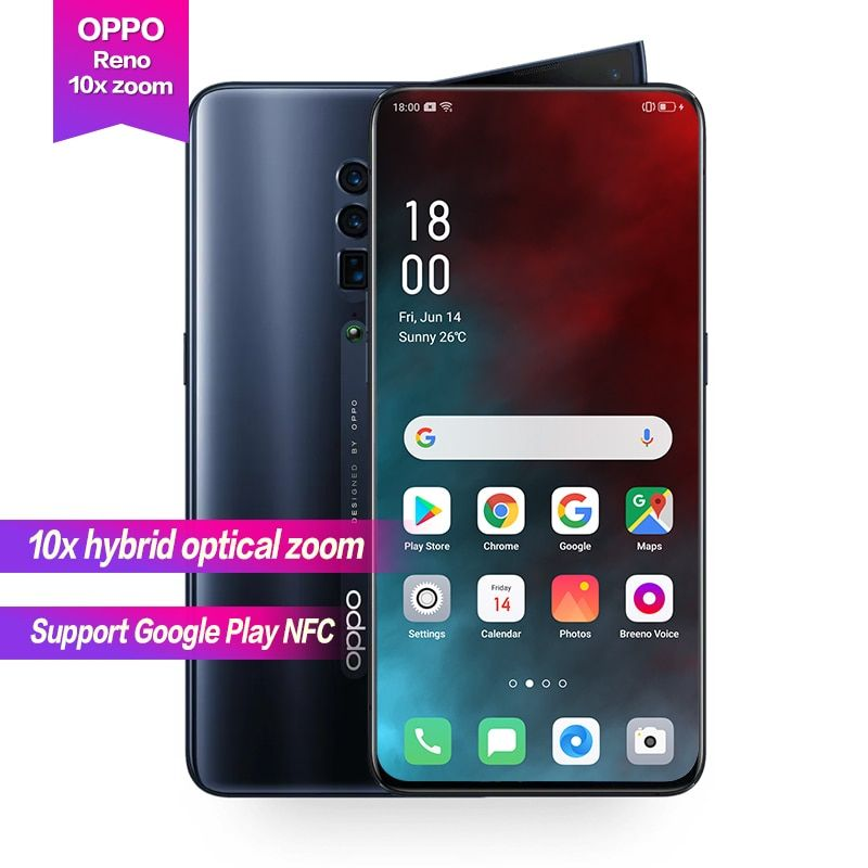 OPPO Reno 10x zoom 6,6 Full Screen Unterstützung NFC Seite rotation kamera Super VOOC Octa Core 48MP + 13MP + 8MP 4065 mAh Fingerprint ID