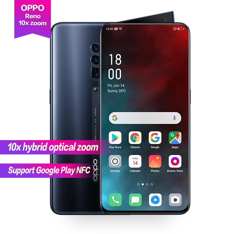 OPPO Reno 10x zoom 6,6 Full Screen Unterstützung NFC Seite rotation kamera Super VOOC Octa Core 48MP + 13MP + 8MP 4065mAh Fingerprint ID