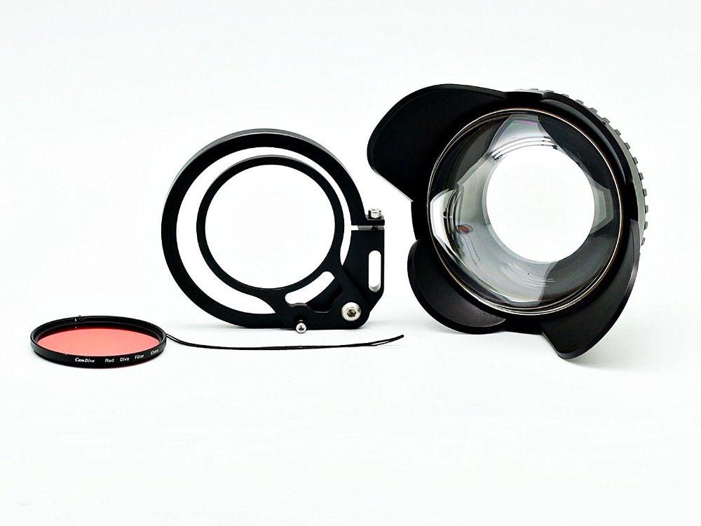 Kamera 67mm 0.7x fisheye weitwinkelobjektiv Dome Port mit flip adapter für unterwasser Wasserdichte gehäuse