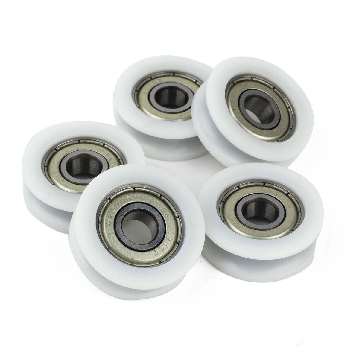 5 stücke Neue U Rillenkugellager Nylon Kunststoff Embedded 608 Führungsrolle 8*30*10mm
