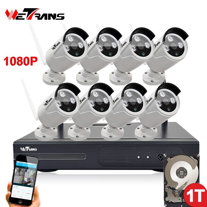 Wifi NVR Surveillance Kit Plug Play P2P 8CH 2.0MP HD 1080P 20m Night Vision Waterproof Outdoor Wireless DVR Camera CCTV Set