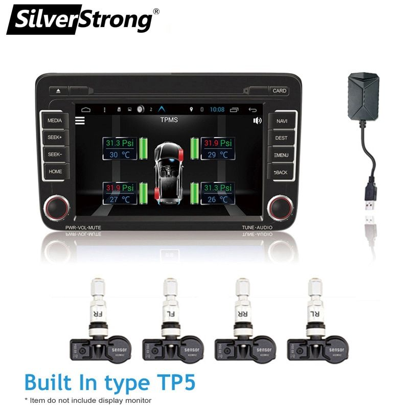 SilverStrong TPMS for Android CAR DVD Car Tire Pressure Monitoring System USB Tire Sensors Alarm Monitoring System 4pcs/kit