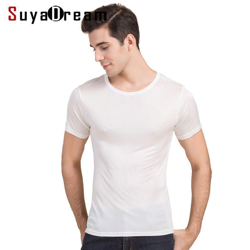 Hommes basique T shirt 100% soie naturelle solide chemise à manches courtes haut hommes soie top blanc marine gris 2018 nouveau printemps été