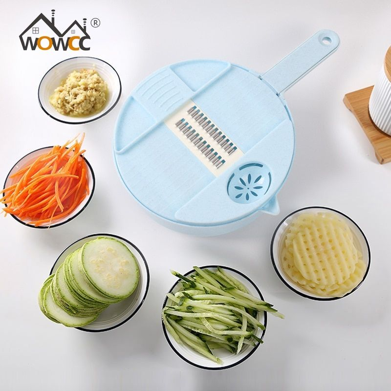 WOWCC Mandoline trancheuse multi-fonction coupe alimentaire pomme de terre carotte légumes râpe Chopper cuisine coupe Machine fromage râpe