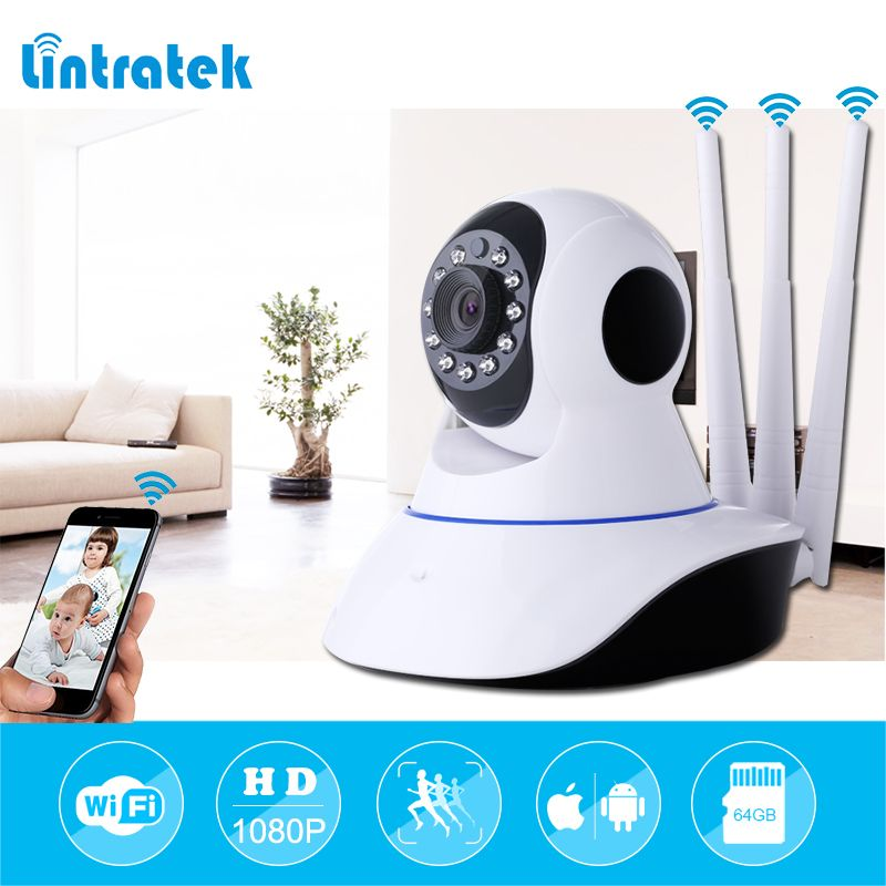 lintratek Three Antennas Security Camera HD 1080P Video Surveillance IP Camera mini WIFI CCTV Camera wi-fi Home Security IP Cam