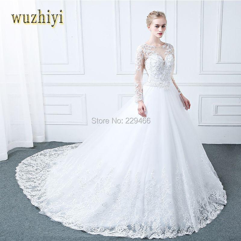 WUZHIYI Vestidos de Noiva Long Sleeves Wedding Dress Appliques Lace Pearls Wedding dresses Sexy Matrimonio Vestido de Novia 2017