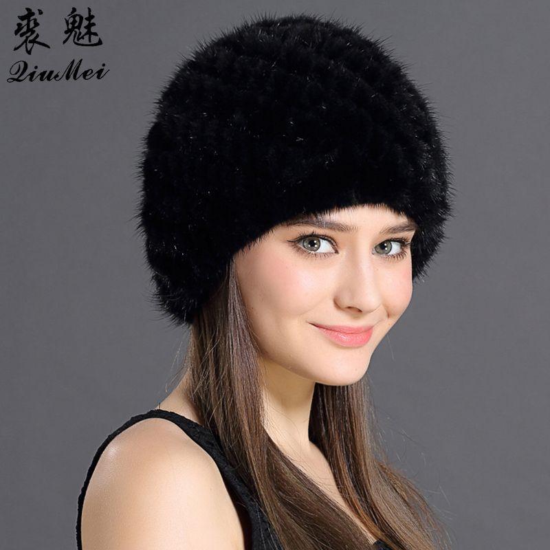 QiuMei Women's Winter Hats Lined Natural Real Fur Cap New Fur Knitted Cap Women Pineapple Hat Genuine Mink Fur Hat Female Winter