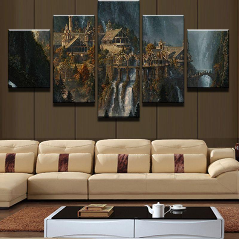 Современный дом стены Книги по искусству decor холст Аватар Рамки HD печати 5 шт. таинственный Горный Замок водопада пейзажной живописи Pengda
