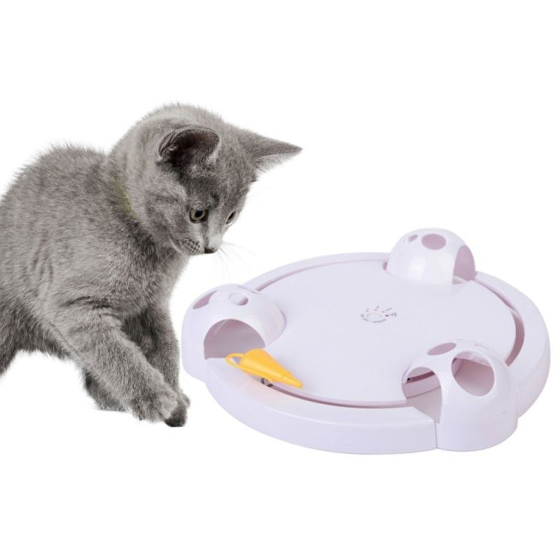 Drop shipping Cat Interactive Pet Cat Toys Automatic Rotating Cat Play Teaser Plate Mice Catch Toy Electric Playing Exercise Toy