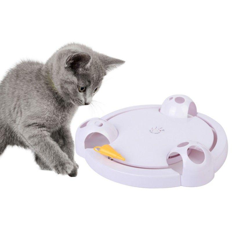 Livraison directe chat interactif Pet chat jouets automatique rotatif chat jouer Teaser plaque souris attraper jouet électrique jouer exercice jouet