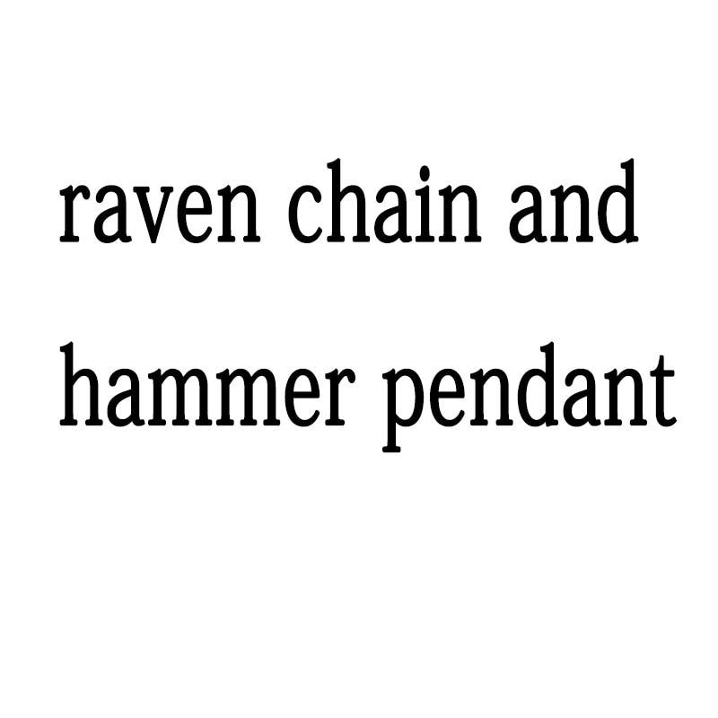 lanseis 1pcs raven chain and hammer pendant