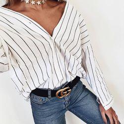 2018 nueva mujer verano playa Casual Camisa suelta manga larga rayas blusas de impresión Cardigan botón casual tops tamaño