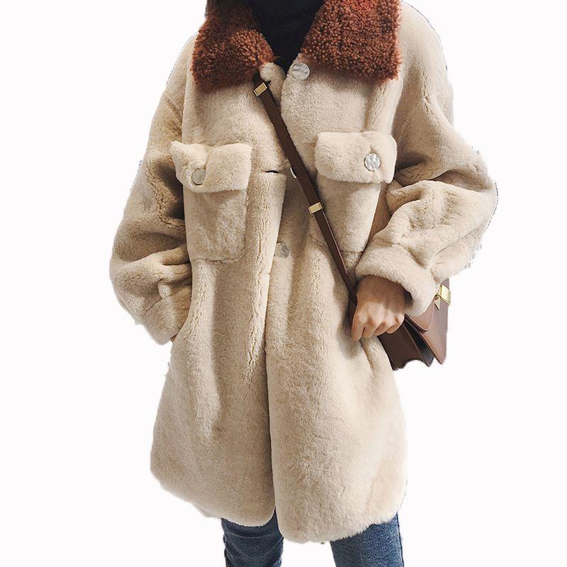 Korean Echten Pelzmantel Vintage 100% Wolle Mantel Herbst Winter Jacke Frauen Kleidung 2018 Schafe Lammfell Pelz Weibliche Tops ZT1270