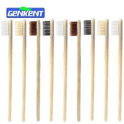 Genkent 10 unids verde baja en carbono bambú natural diente Cepillos novedad madera diente Cepillos artículos de higiene bucal dientes Cepillos Cerda suave 4 colores