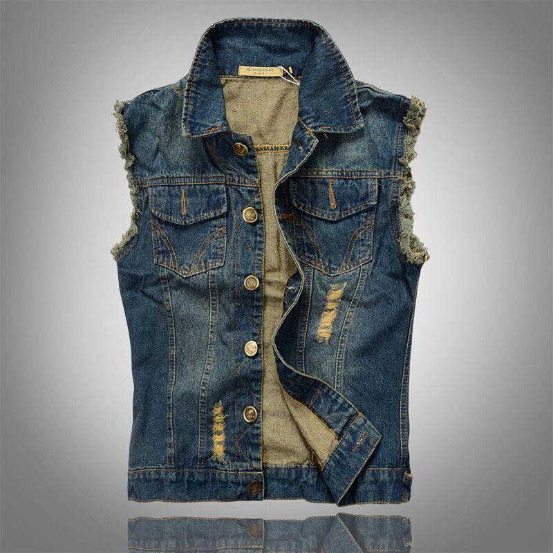 2016 neue Mode Herren Jeansweste Vintage Sleeveless Gewaschen Jeans Weste Mann Cowboy Zerrissene Jacke Plus Größe 6XL Tank Top