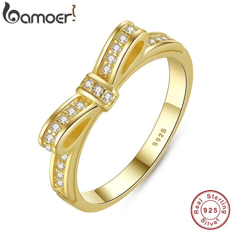BAMOER authentique 100% 925 argent Sterling noeud noeud empilable anneau Micro Pave CZ couleur Rose femmes bijoux de mariage PA7129