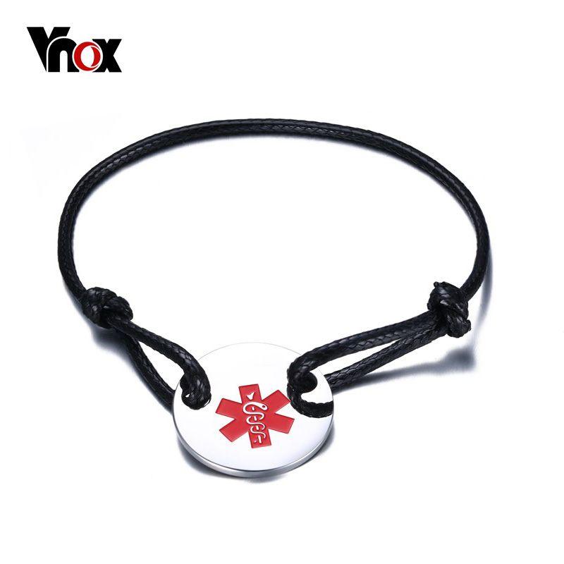 VNOX Medical Alert ID Star of Life Bracelet Stainless Steel Coin Black & Red Rope Bangle Adjustable Size 5.5
